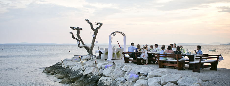 Beach Wedding Diner At Sunset